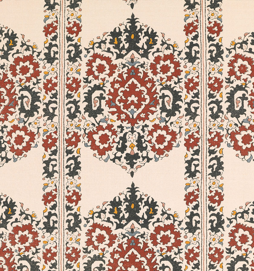 Algiers Black and Red on Linen