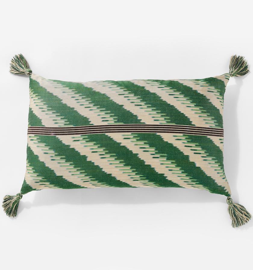 Ikat Chevron Green Gold Cushion