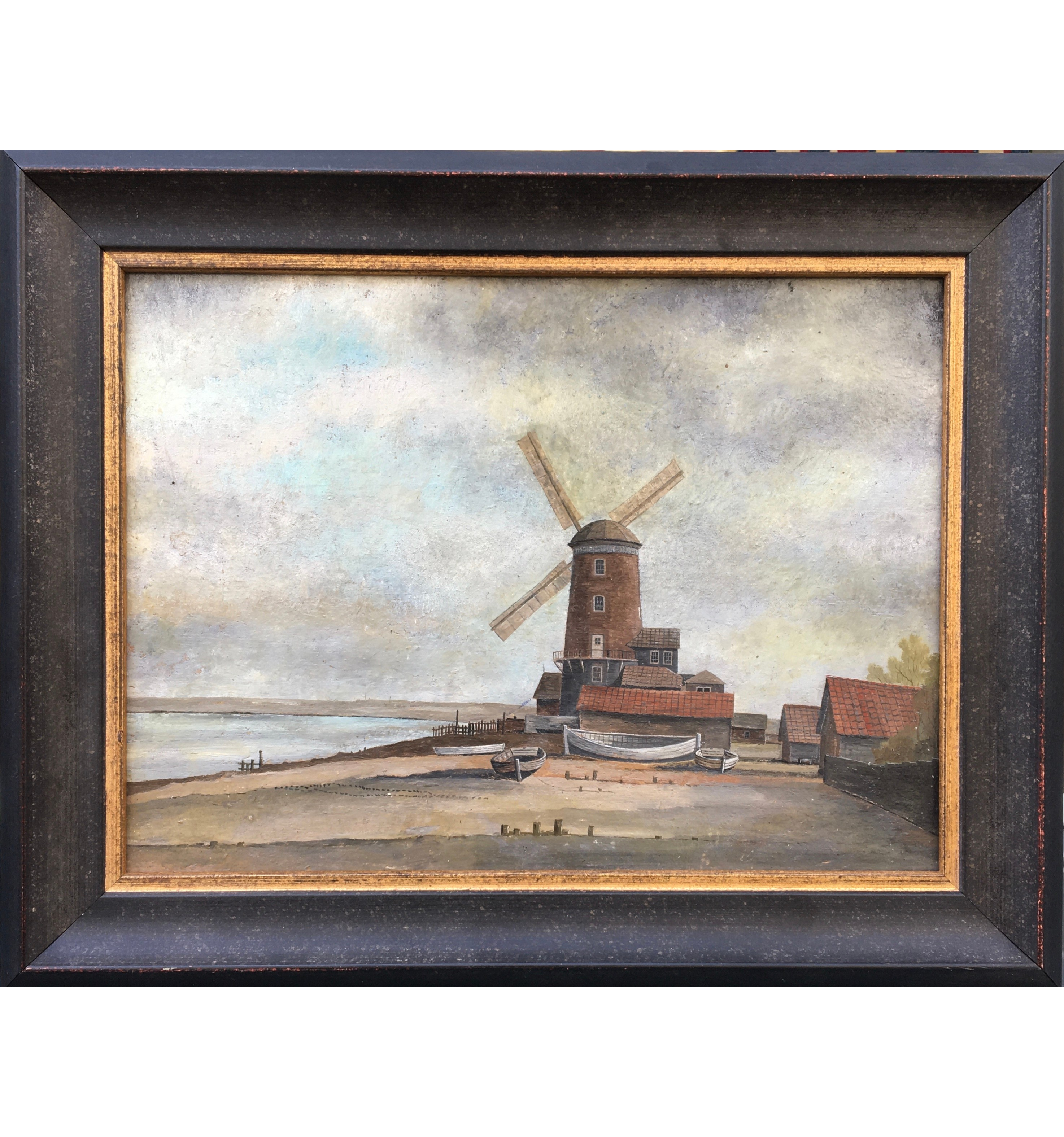 A mid 19th century painting of Cley Windmill, Norfolk, oil on board, Circa 1845
