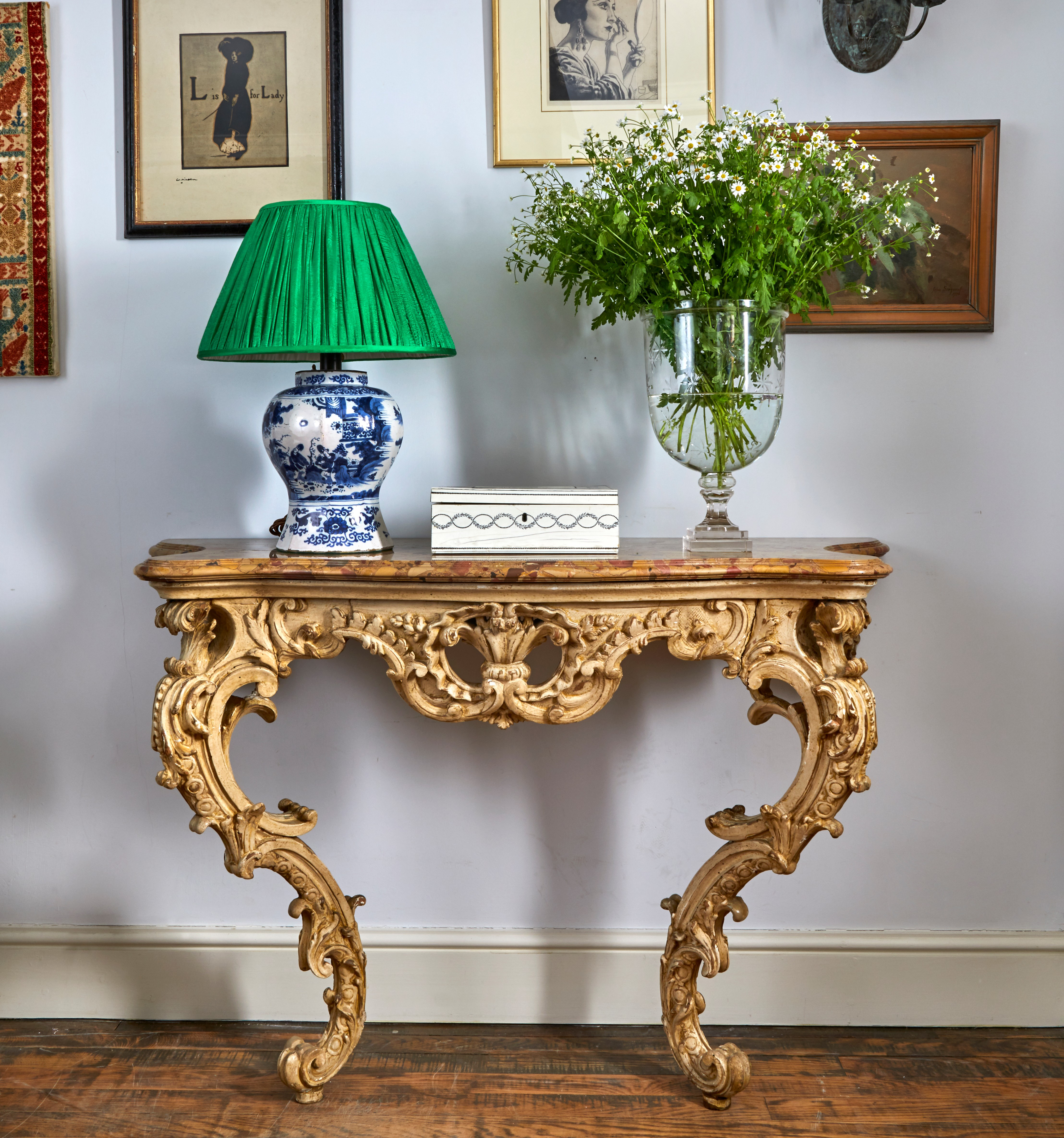 A pair of late 18th century North Italian painted console tables with marble tops, Circa 1785