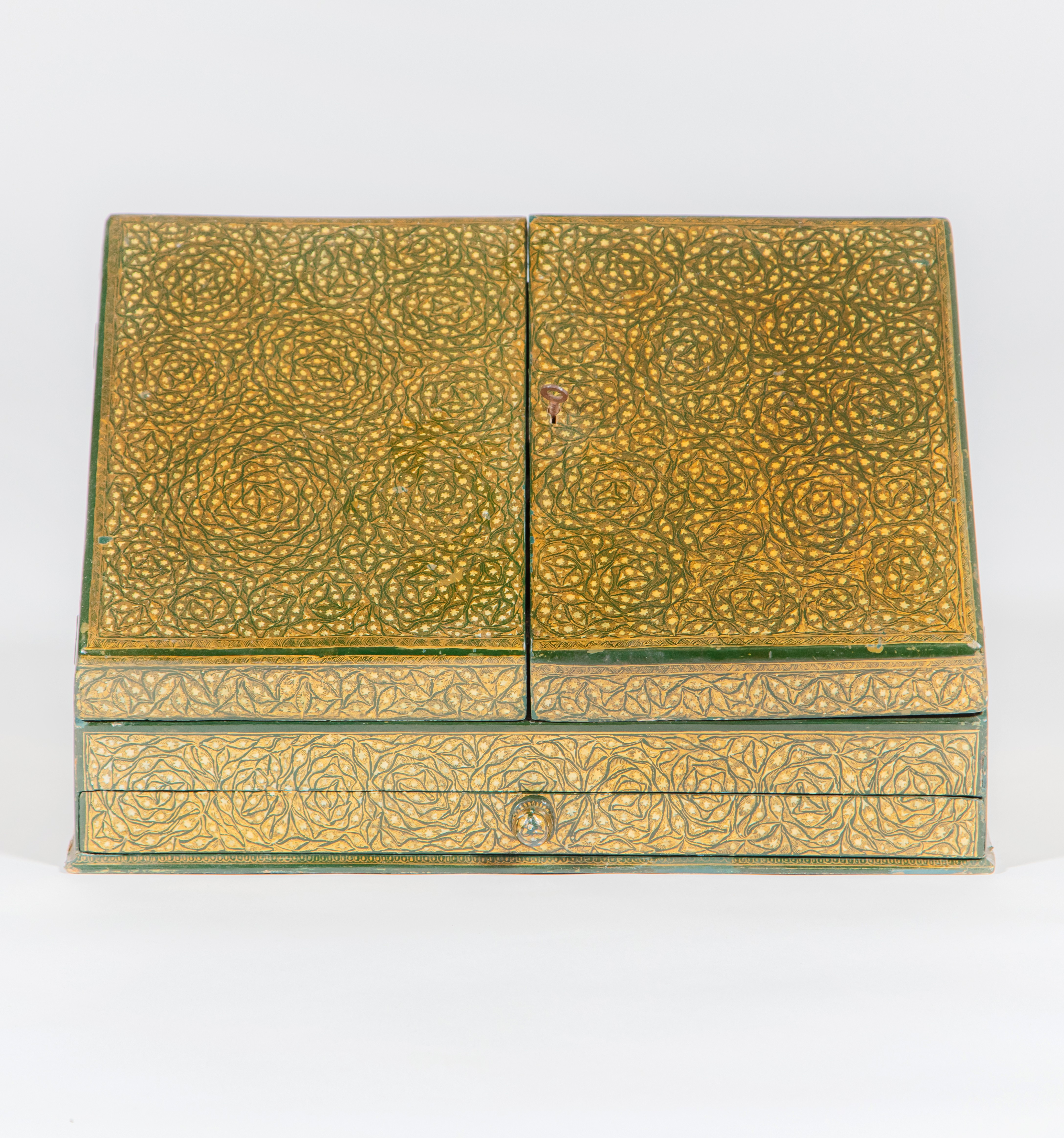 A Kashmiri green ground and gold decorated writing slope, Circa 1870