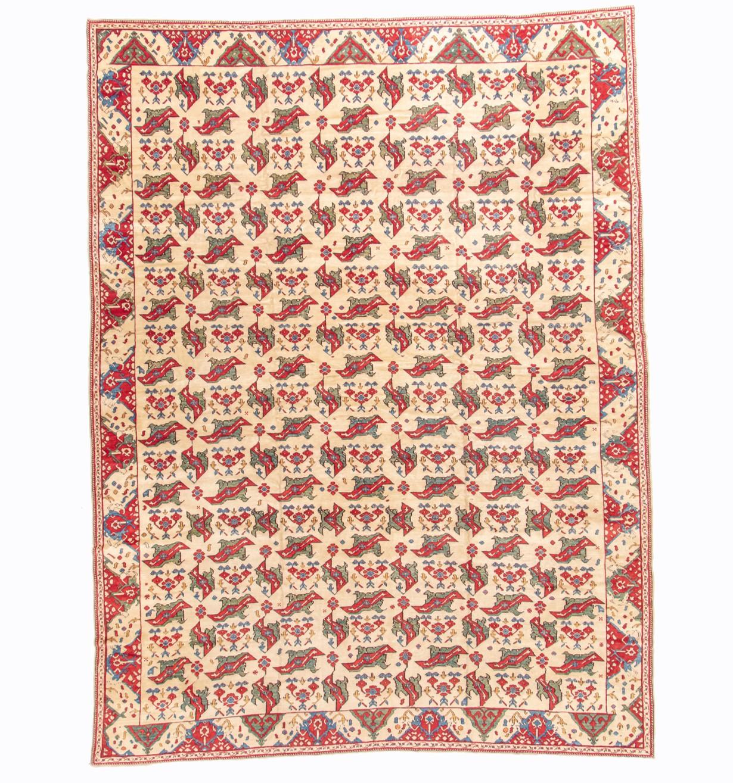 A mid 20th century Oushak bird design carpet, Circa 1950