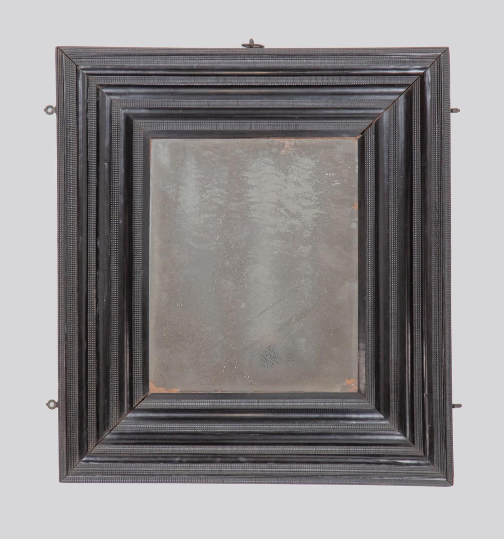 A good late 17th century ebony mirror, Italian.  Circa 1700
