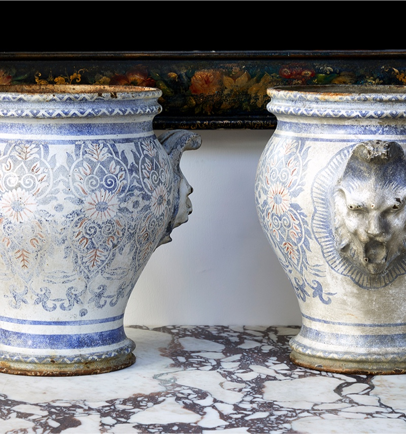 A pair of enamelled cast-iron urns by Ch. Paris, Circa 1840