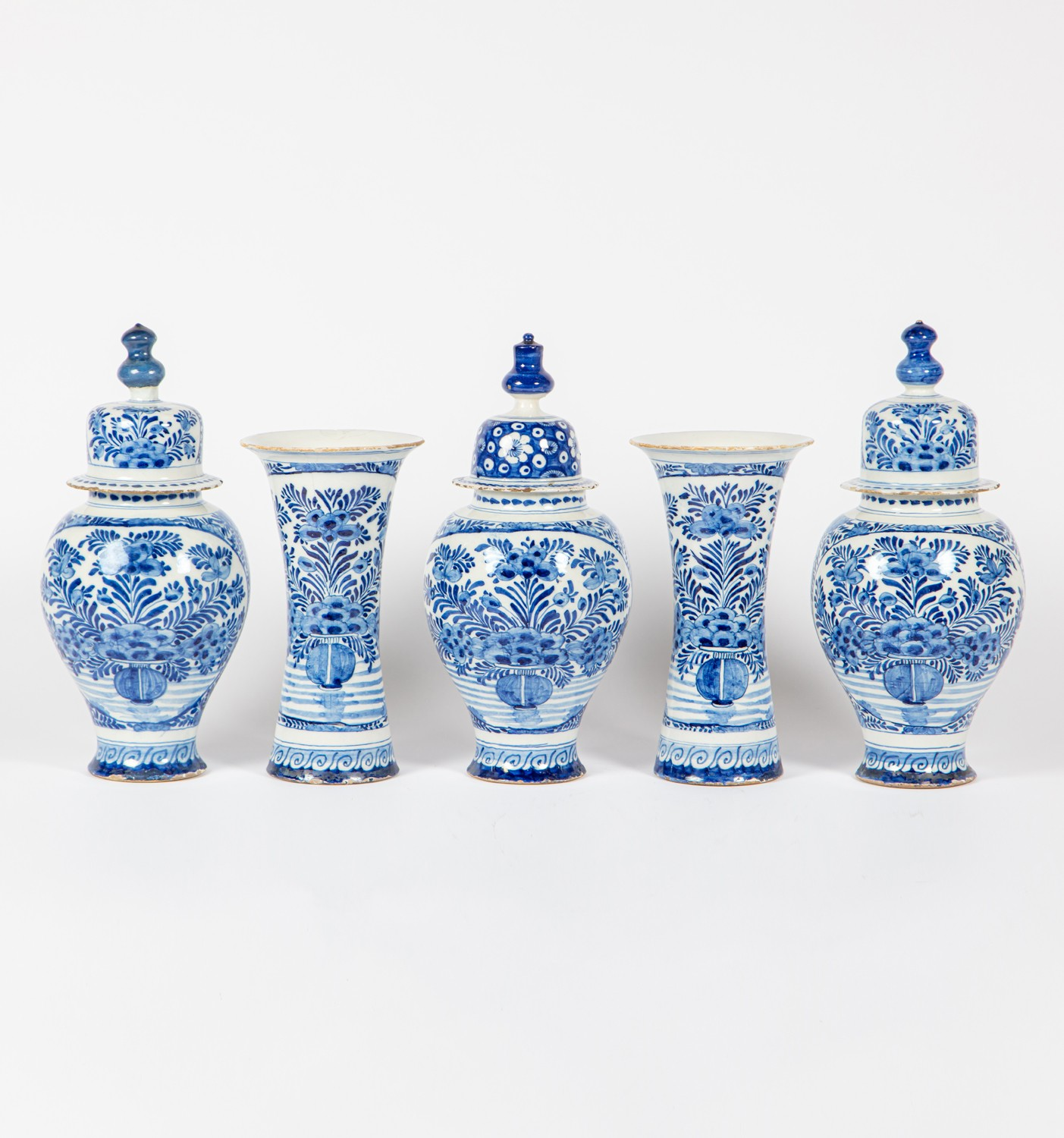 A set of five Delft blue and white garniture pots and vases, Circa 1800