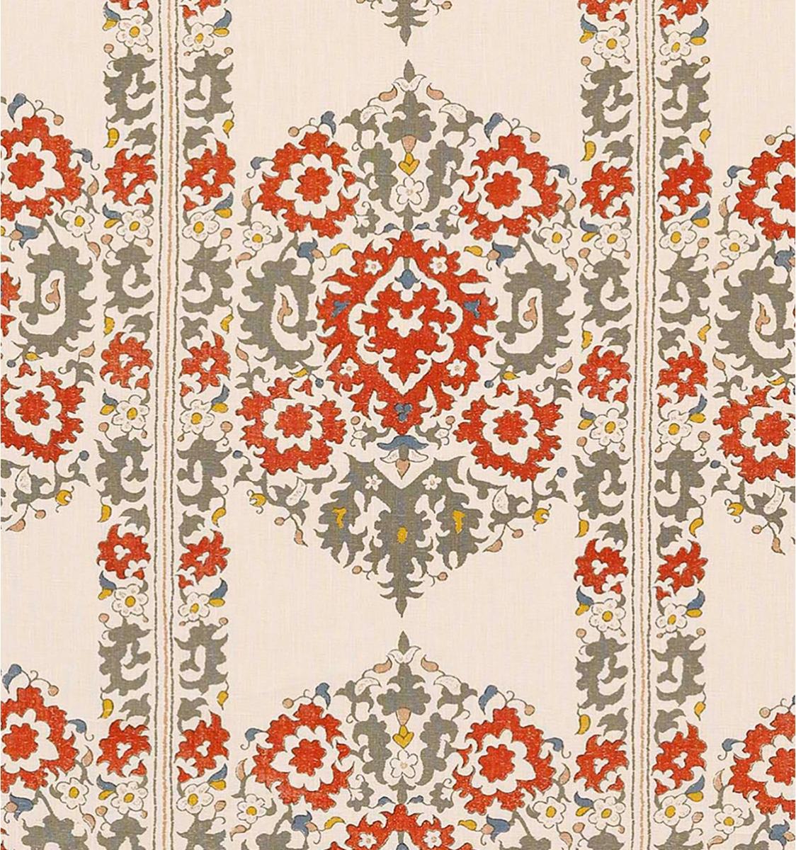Algiers Grey & Coral Silk