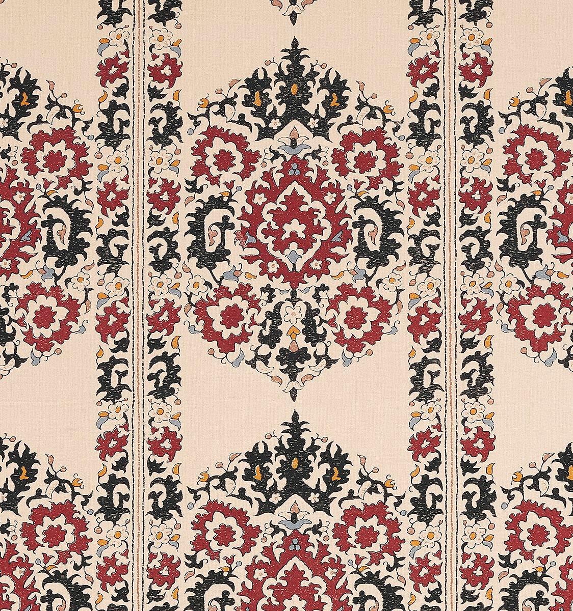 Algiers Black & Red on Silk