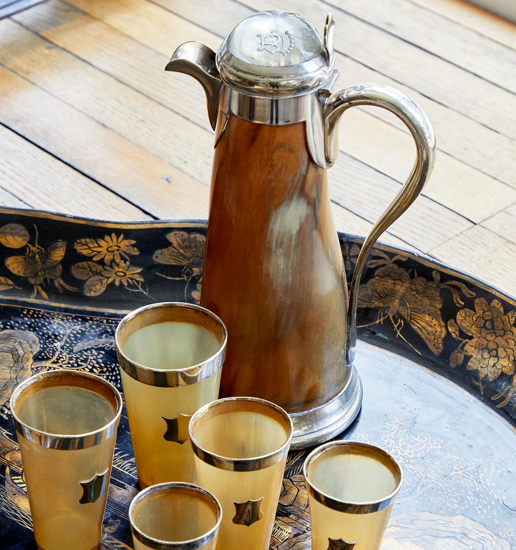 A silver plated horn claret jug, circa 1880