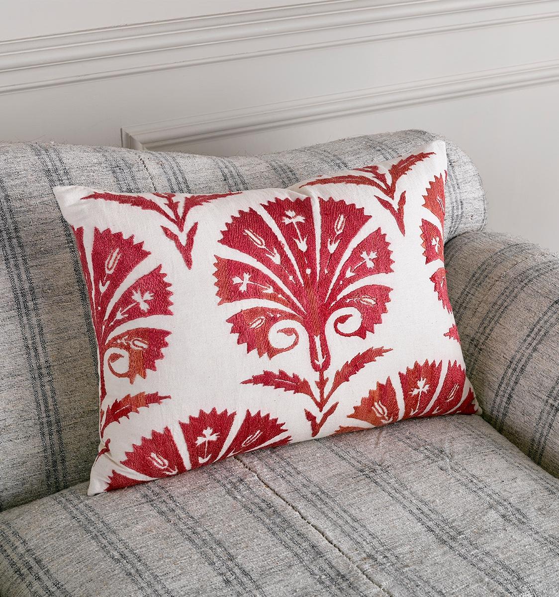 Red Palmette Cushion