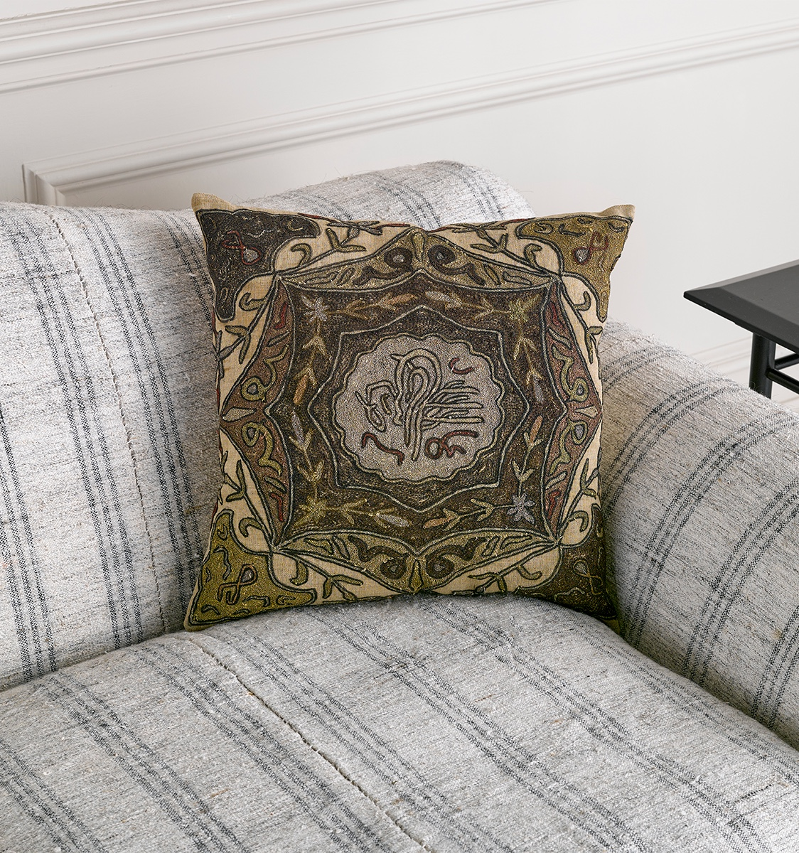 Medium Brown Embroidered Antique Fabric Cushion