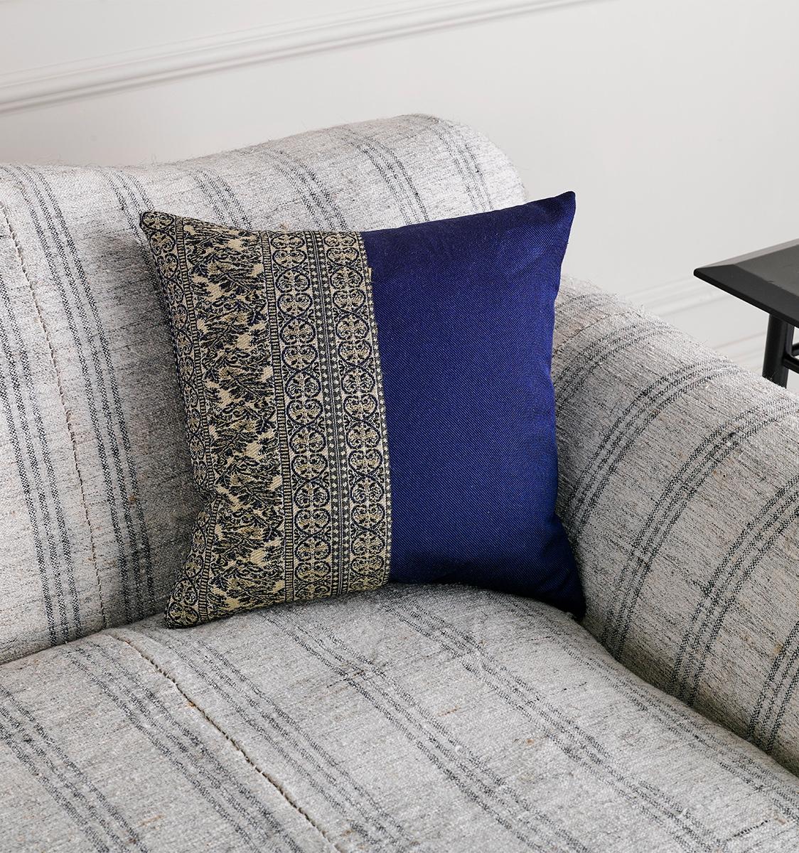 Small Woven Blue Antique Fabric Cushion