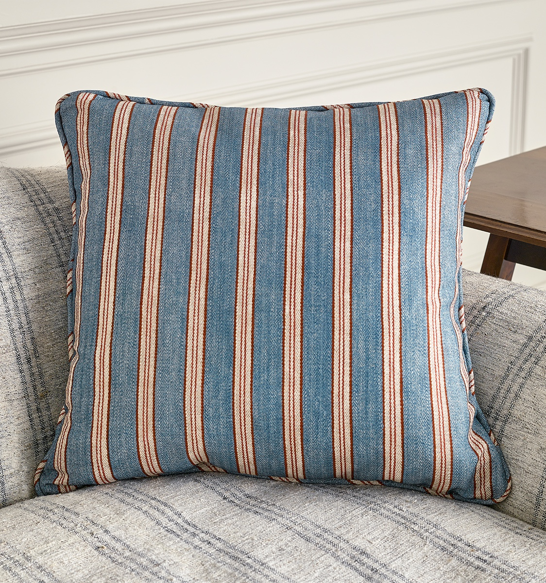 Tynemouth Ticking Blue Fabric Cushion