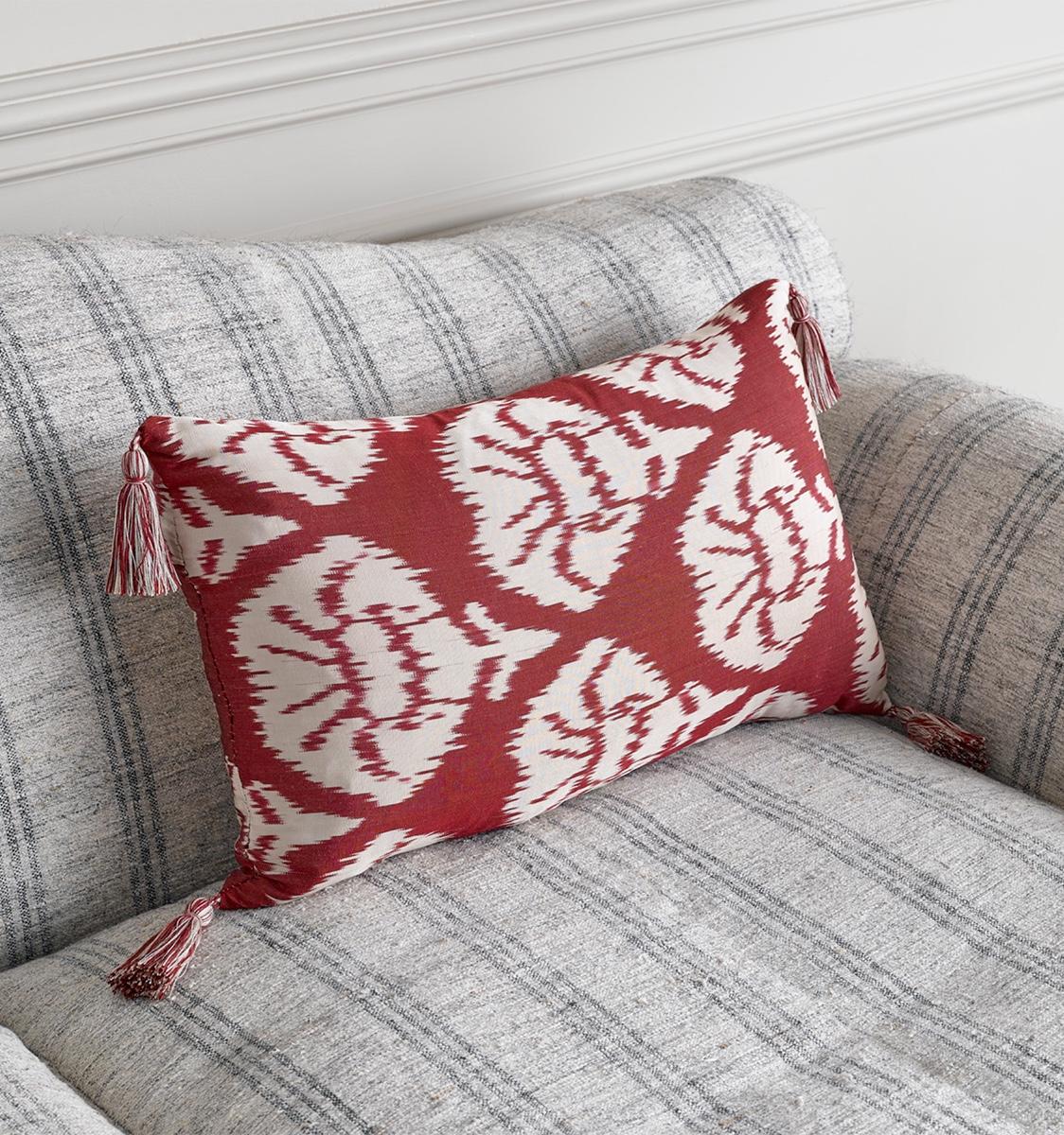 Ikat Red Carnation Cushion