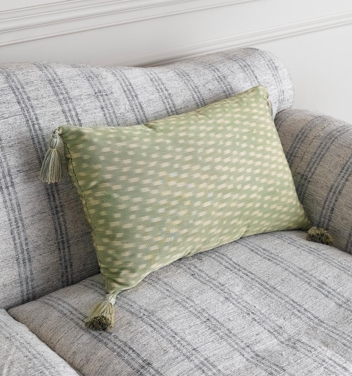 Ikat Amu Gold Green Cushion