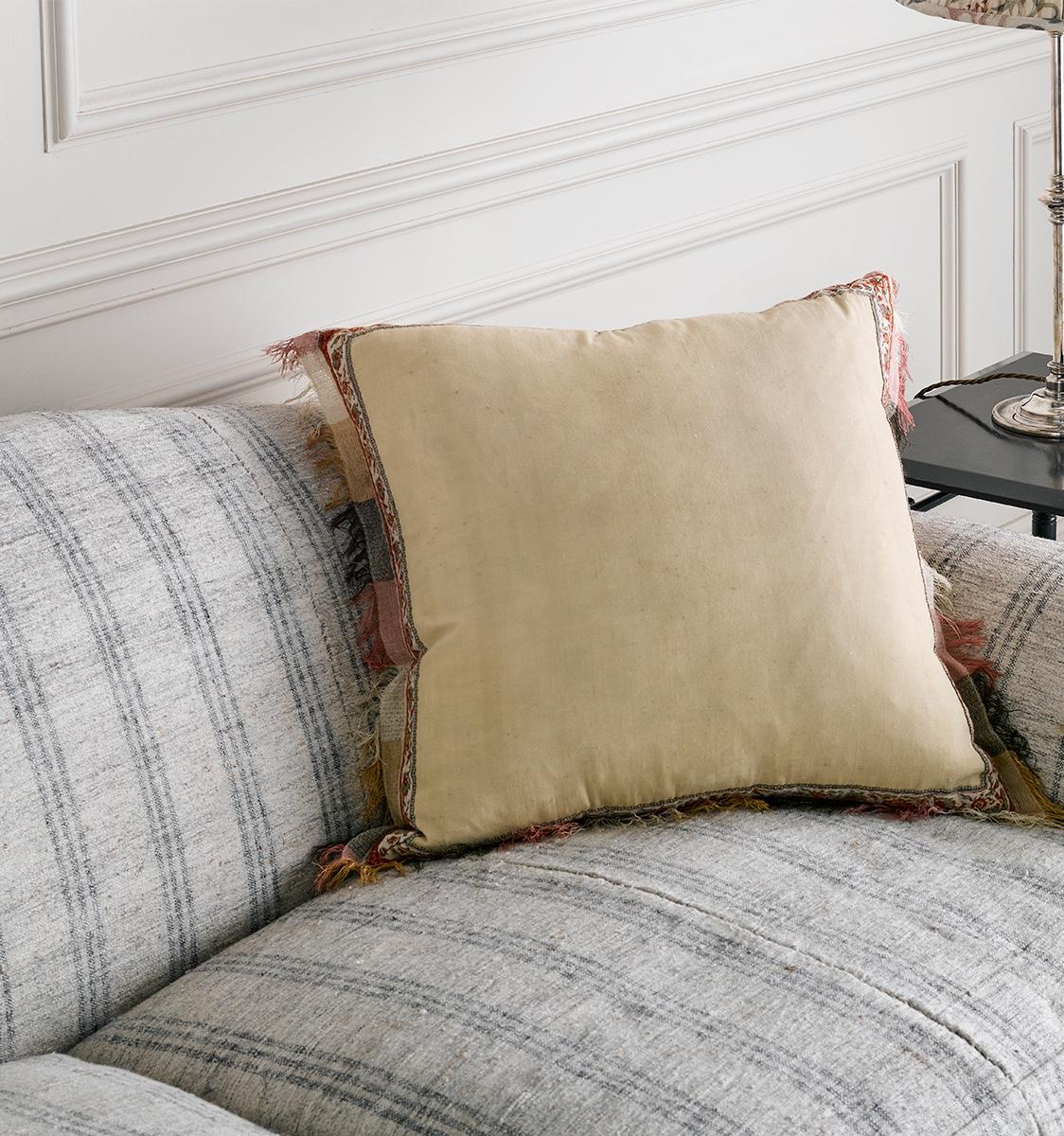 Antique Fabric Cushion with coloured Fringe
