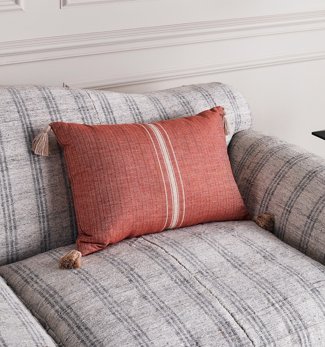 Rectangular Avignon Stripe Red Reverse side Cushion