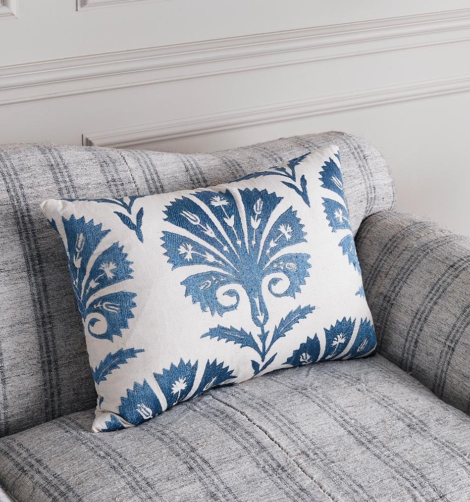 Susani Blue Palmette Cushion