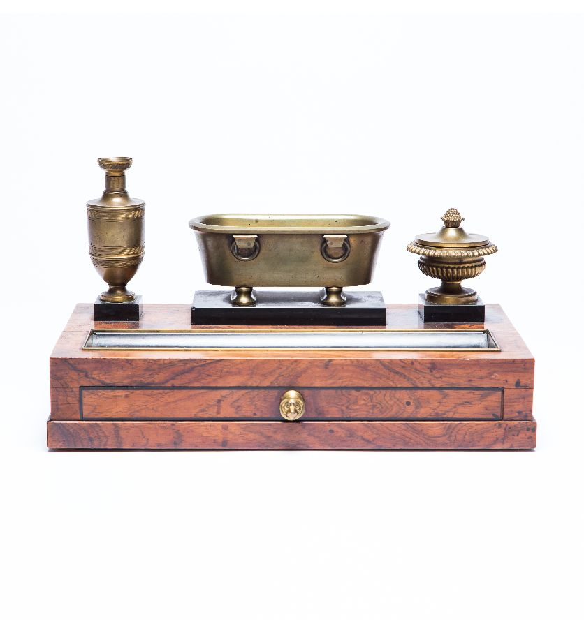 An Empire rosewood inkwell and pen holder, French circa 1810