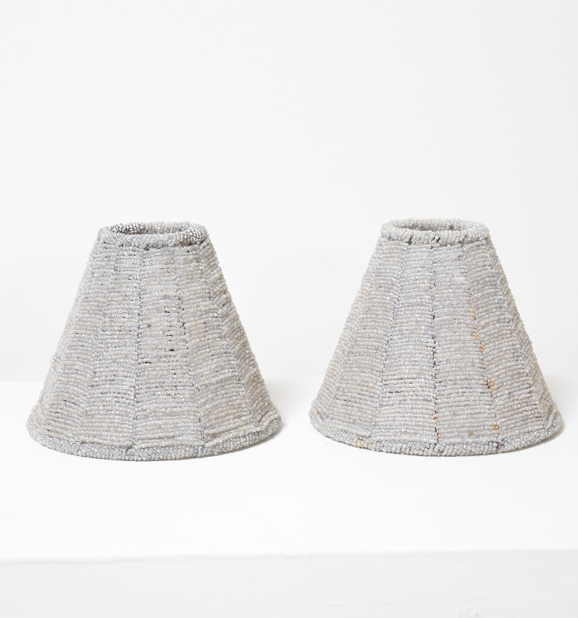 A pair of beaded glass shades