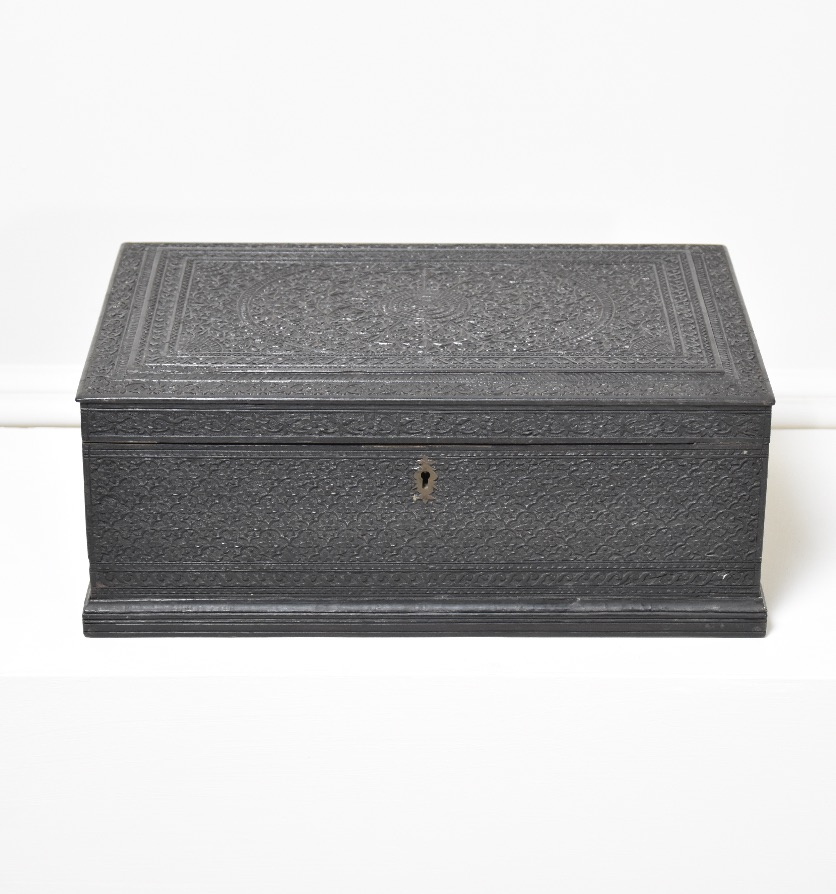 A carved ebony Indian box