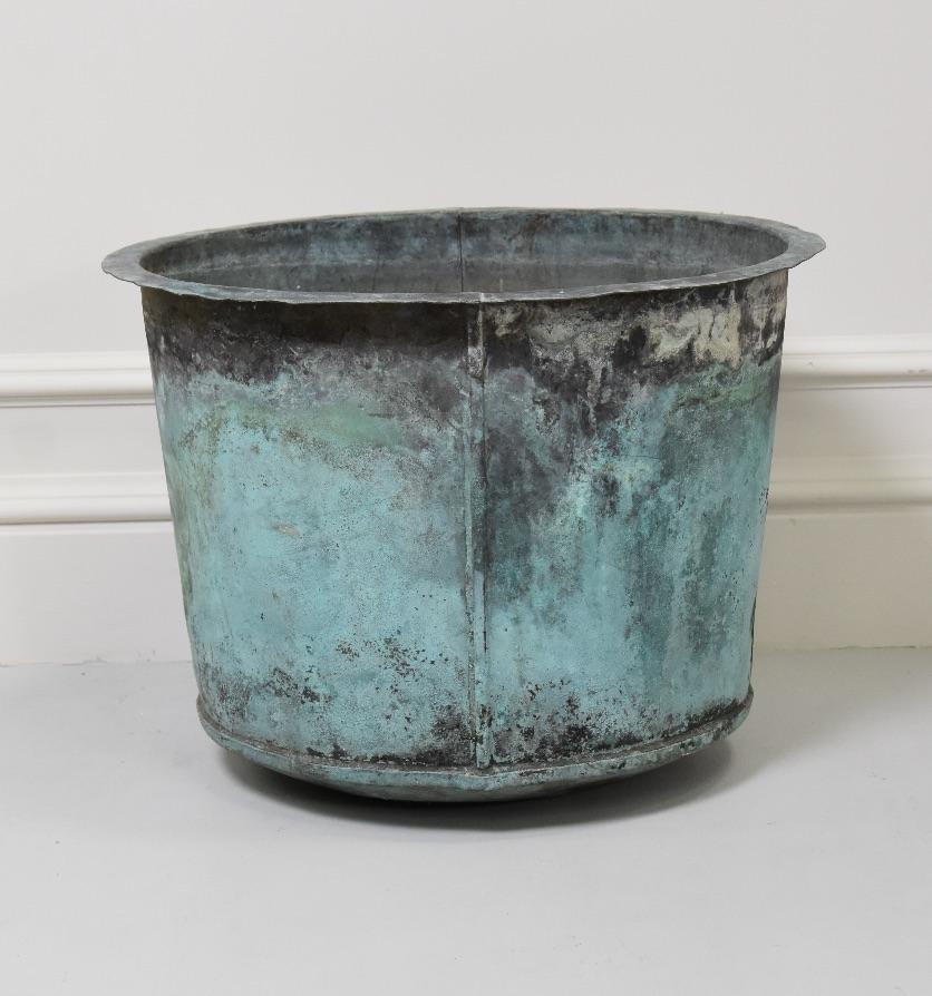 A copper pot with verdigris patina, Circa 1840