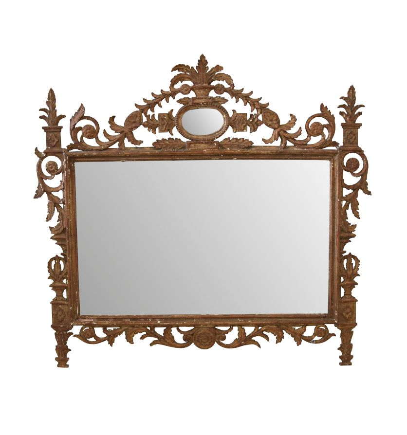 A late 18th century carved giltwood overmantle mirror, Italian. Circa 1800