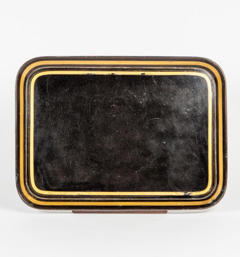 A Regency black lacquer papier maché tray, Circa 1825