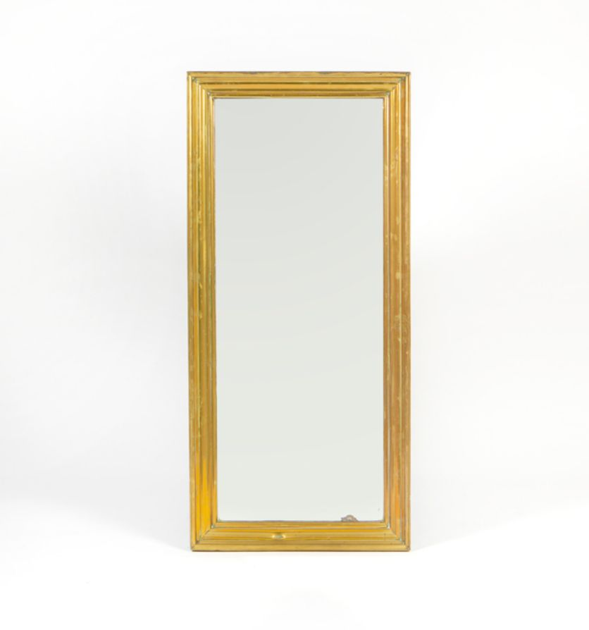 A brass Parisien bistro mirror, circa 1880