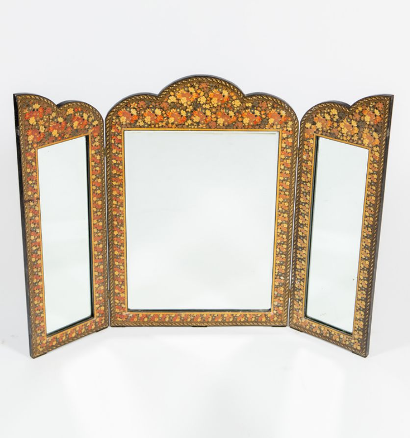 A Kashmiri dressing table mirror, mid 20th century