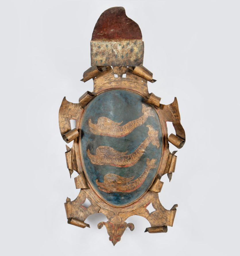 A Venetian painted metal shield showing the arms of the ducal Dolfin(i) family, Circa 1785