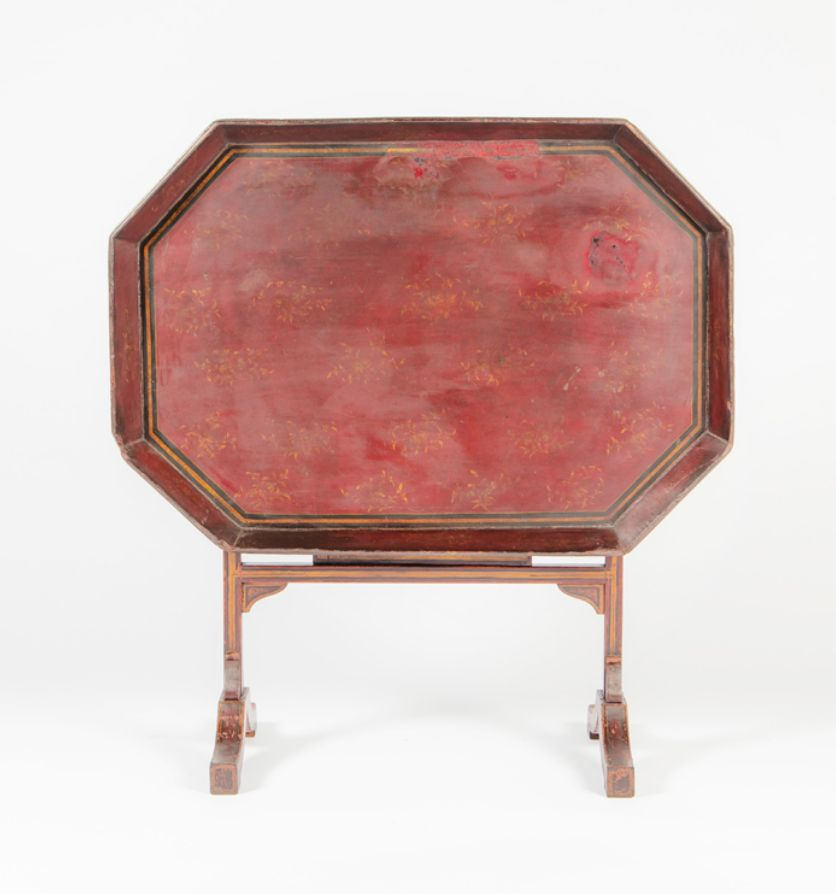 A hand painted Regency lacquer tray on gothic base stand