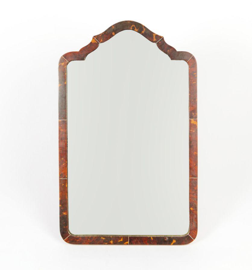 A tortoise shell mirror, circa 1890